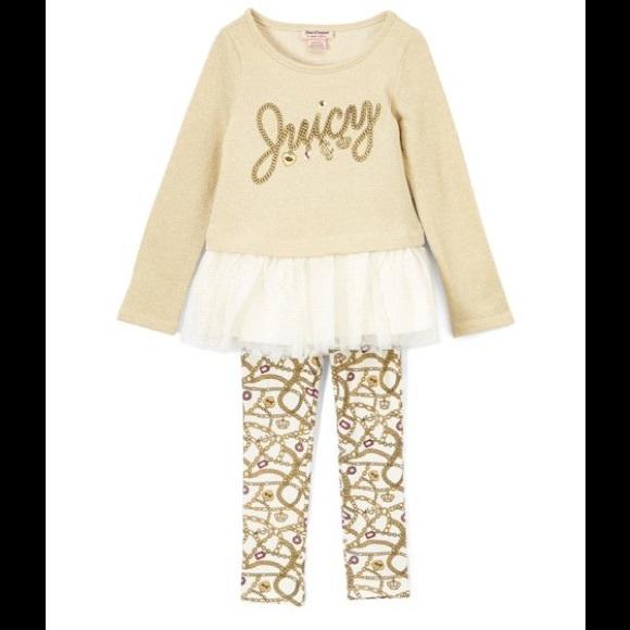Juicy Couture  Oatmeal Ruffle Tunic/Crown Leggings